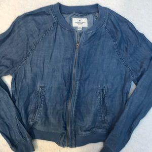 American eagle cropped denim jacket sz S